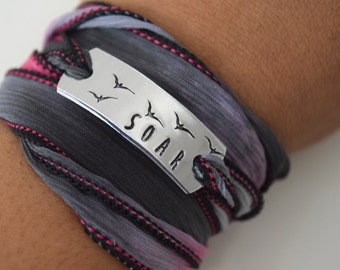 Soar Hand Stamped Ribbon Wrap Bracelet