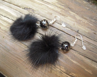 Light grey and black fur earrings