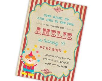 Vintage Circus Birthday Invitation, Circus Party, Digital Printable File Clown