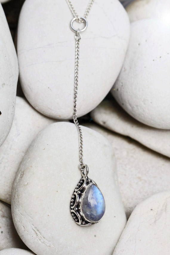 Sterling Silver Rainbow Moonstone Necklace, Moonstone Jewelry, Necklace, Sterling Jewelry Gemstone Necklace, Bohemian Jewelry Gypsy Necklace