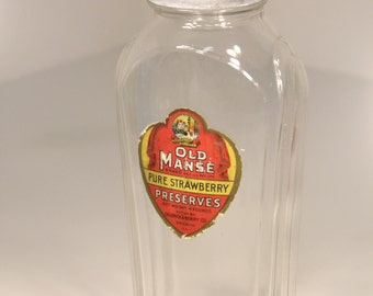 Large Vintage 1920s Art Deco Glass Hazel Atlas Bottle Old Manse Strawberry Preserves by Oelerich & Berry Company of Chicago RARE Advertising