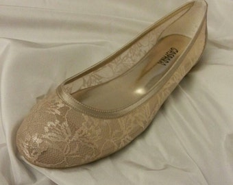 Wedding shoes, FRENCH GUIPURE Lace Bridal Flats Wedding shoes 1006