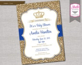 Baby Shower Invitation - Prince Crown Royal Blue and Gold Glitter- DIY Printable