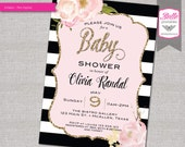Baby Shower Invitation - Paris Inspired with Gold Glitter Watercolor flower - DIY Printable - Pink - White and Black Stripes