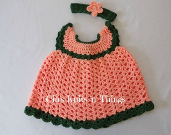 Baby Dress - Crochet Baby Dress - Baby  Pinafore - Summer Baby Dress - Spring Baby Dress - On Sale
