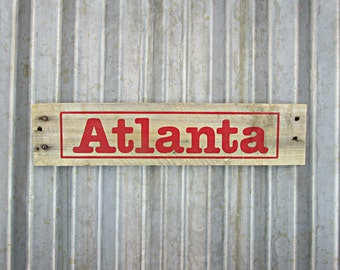 Rustic City Sign - Atlanta Sign in Ruby Red -  Rustic Wooden City Sign - Reclaimed Wood City Sign