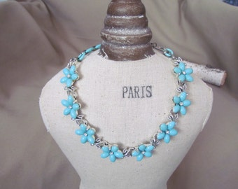 Vintage Blue Flowers Necklace with Rhinestones