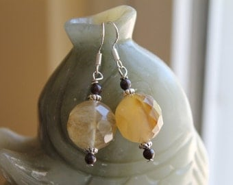 Faceted Tiger Quartz with Red Garnet Earrings, sterling silver hook