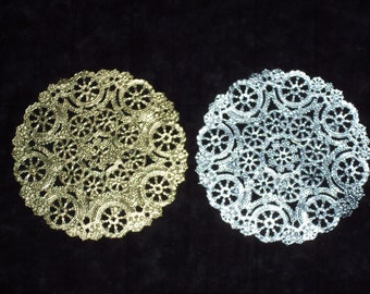 6 inch silver or gold foil medallion doilies,round,paper lace,15/pkg,cardmaking,decoupage,scrapbooking,collage,wedding,pastry baskets