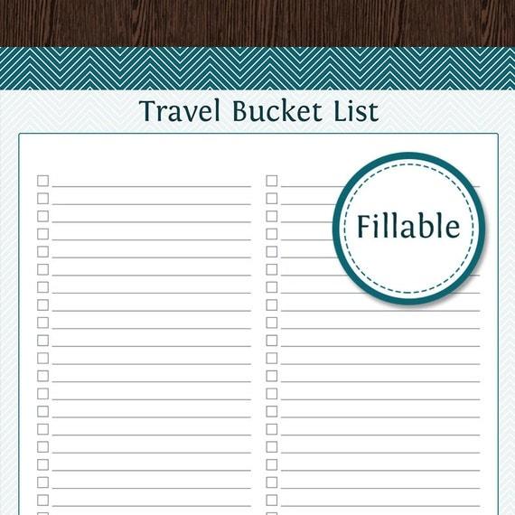 Travel Planner Travel Bucket List Fillable Instant