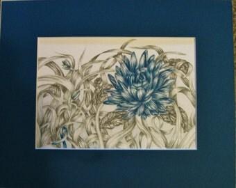 "8x10"" Teal Flower (Ovarian Cancer)"