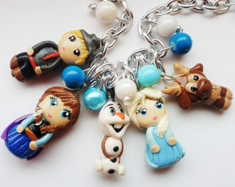 frozen jewelry  charm bracelet with elsa, anna, sven, olaf and kristoff