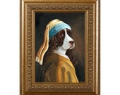 Dog Magnet, Spaniel With a Pearl Earring, Springer Spaniel, Refrigerator Magnet