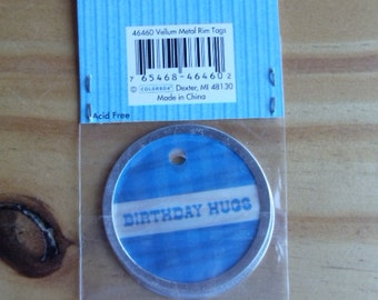 """Vellum Tags.  Set of two Birthday tags 2"""" circle.  Perfect for scrapbooking, card making, gifts or crafts."""
