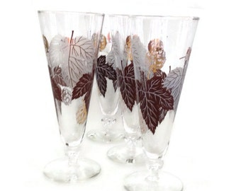 Vintage Pilsner Glasses Beer Glasses Gold and Brown Leaves Set of 4 Breweriana  Mid Century Retro Barware-Vintage Barware