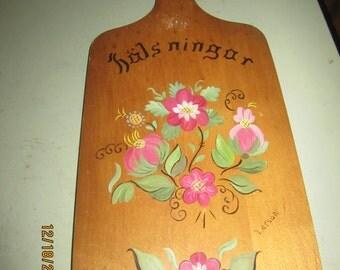 Vintage Tole Painted Breadboard Swedish Hals Ningar