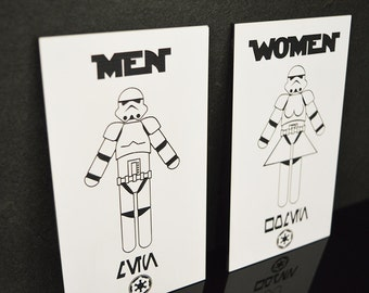 Star Wars Stormtrooper His N Hers Bathroom Signs
