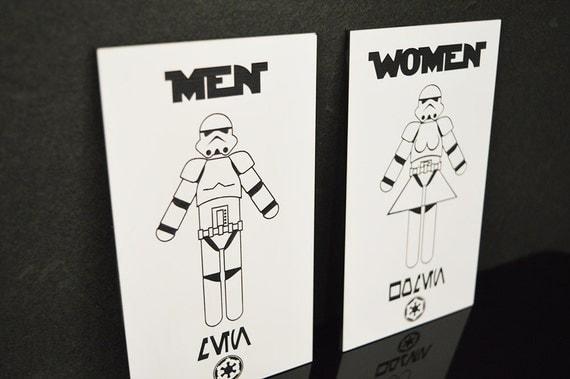 Star Wars Stormtrooper His N Hers Bathroom Signs