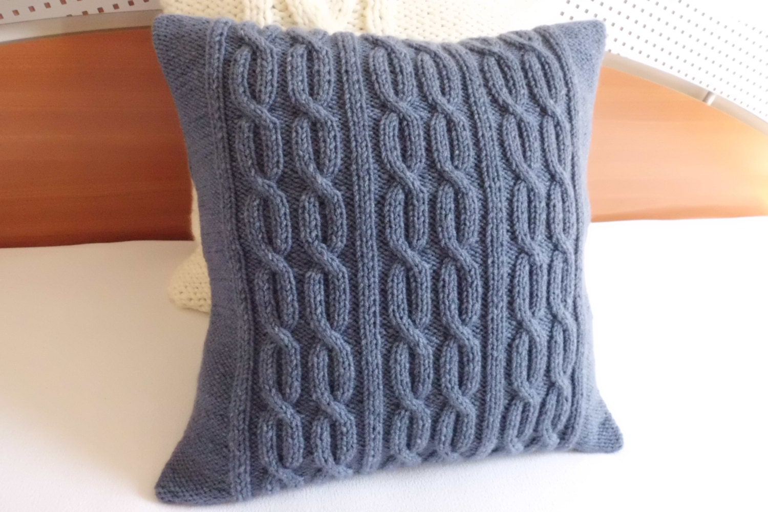 Steel Blue Throw Pillow : Cable knit decorative steel blue pillow blue gray throw