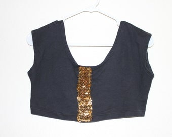 black gold glitter crop top
