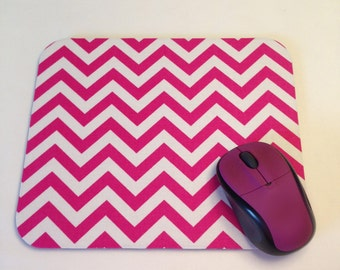 Hot Pink and White Chevron Print Mouse Pad High Quality Desk Decor