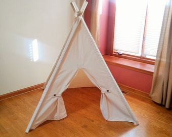Kids Teepee Natural Canvas Tent  with Button Back ties.  Play tent with door hold backs teepee with poles
