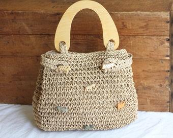 Boho Jute Woven Animal Figure Handbag/ Tan Straw Weave Wooden Handle Satchel/ Vintage Macrame Bag Purse
