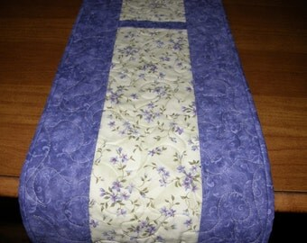 Quilted Table Runner, Purple and Green Floral Table Runner, Spring Quilted Table Topper,  Summer Quilted Table Runner