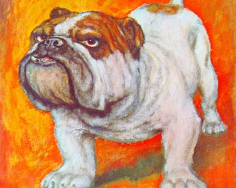 Vintage dog american bulldog art painting cartoon print stationery note greeting cards by GIG wall hanging
