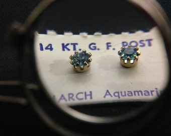 Vintage 1960's 14Kt GF Post Birthstone Earrings - MARCH (ABX1D)