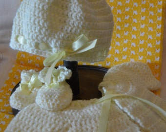 Pale yellow crochet newborn baby set, cardigan, hat and booties