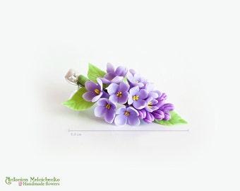 Hair clip Lilac Syringa - Polymer Clay Flowers