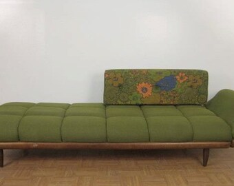 Unique Mid Century Couch / Daybed In Olive Green (make an offer!)