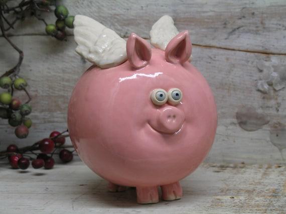 Items Similar To Piggy Bank Hand Made Ceramic Flying Pig