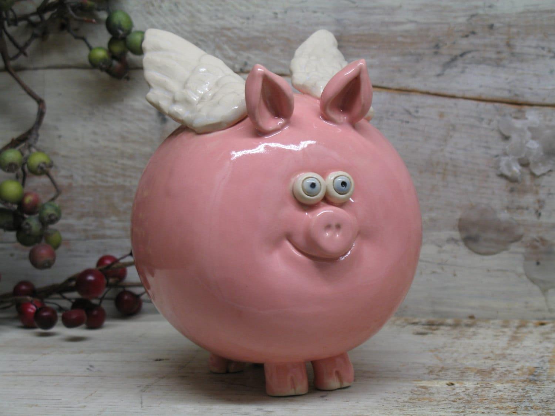 Piggy Bank Hand Made Ceramic Flying Pig Hand Made By
