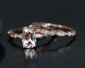 Cushion Morganite Engagement Ring and Diamond Wedding Band Set in 14k Rose Gold 8x6mm