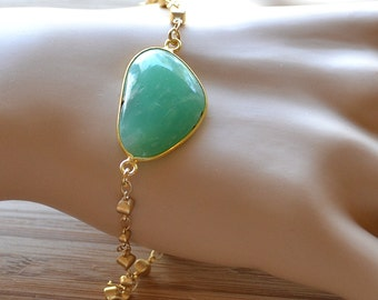 Free Form Green - Chrysoprase and Alternating Gold Bead Chain Bezel Set Gemstone Bracelet. Made to Fit, Ready to Ship.