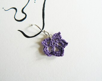 Purple Crochet Leaf Earrings