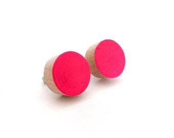 Neon pink stud earrings, wood post earrings, round earrings, lightweight earrings