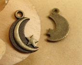 20pcs 16*10mm Moon and stars Charms Antique Bronze Tone Metal Pendants Jewelry Findings charm
