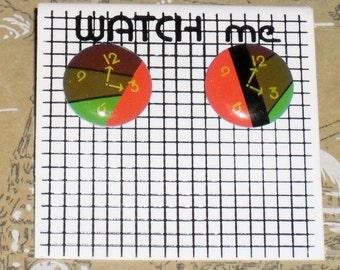 1980s Unworn Watch Me clock Earrings (pierced) (3586)
