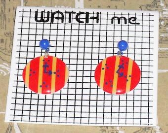 1980s Unworn Watch Me clock Earrings (pierced) (3589)
