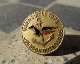 Vintage Pin, 1975 Johnsons Outboards Inner Circle. 1/10 10 Karat Gold Filled