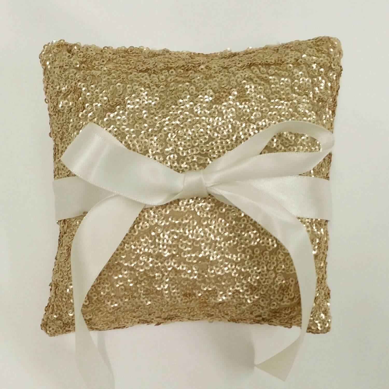 Gold Sequin Ring Pillow Wedding Ring Pillow 5x5
