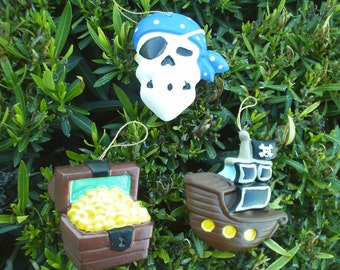 Pirate Ornaments - Set of 3 Blue