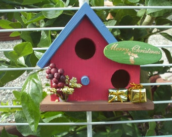 Double Wide Bird House Blue Roof/Red House (17)