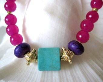 hot pink, turquoise. and magnesite  Bracelet.