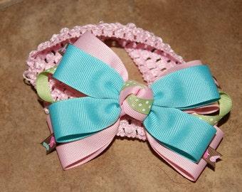 Pastel w/Hearts Infant Headband