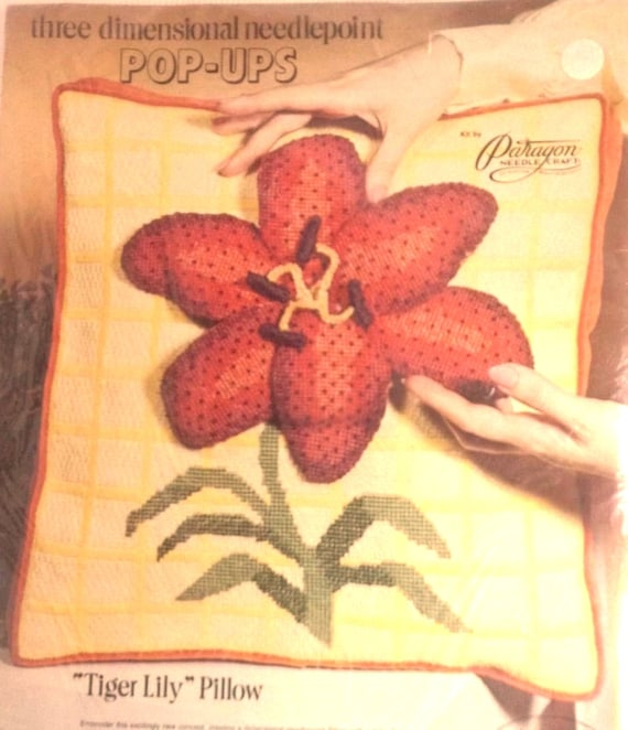 Paragon Needlepoint Kit, Tiger Lily Pillow 3 Dimensional