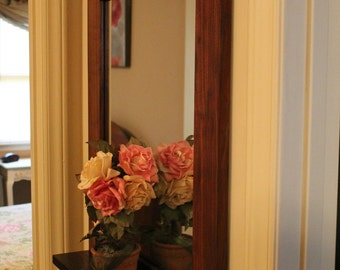 Wall Mirror Handmade Walnut Hallway Mirror with Shelf (Mirror with shelf. Polyurethane)